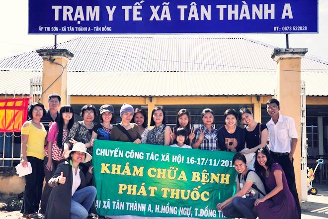 Lê Thành Vân trong chuyến công tác xã hội tại Đồng Tháp .