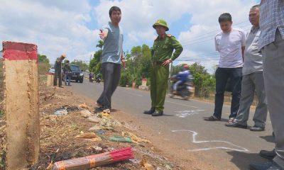 Hiện trường nơi phát hiện thi thể nạn nhân được ngụy tạo là chết do vụ tai nạn giao thông.