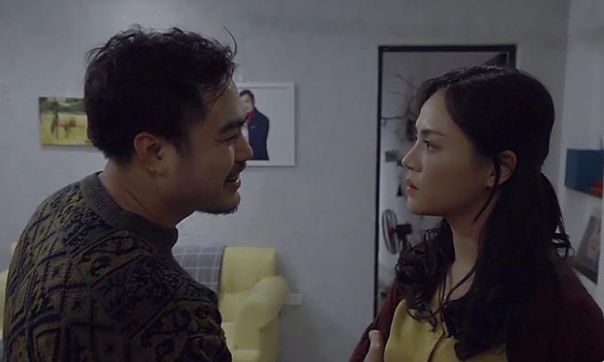 Trọng Hùng và Thu Quỳnh trong phân đoạn Khải cưỡng bức vợ ở tập 34 'Về nhà đi con'.
