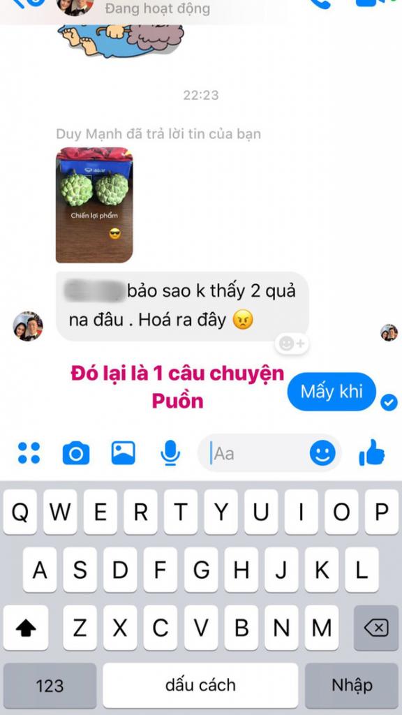 """Huy """"râu"""" đăng đoạn chat với Duy Mạnh vì chuyện 2 quả na lên mạng xã hội. Ảnh: IGNV."""