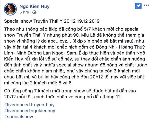 Ngô Kiến Huy thông báo về sự rút lui của Miu Lê.