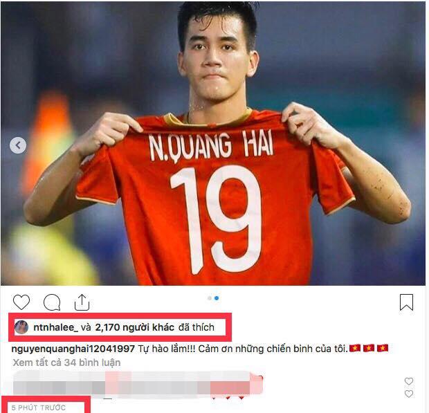 Nhật Lê thả tim ảnh Quang Hải trên instagram. (Ảnh chụp màn hình)