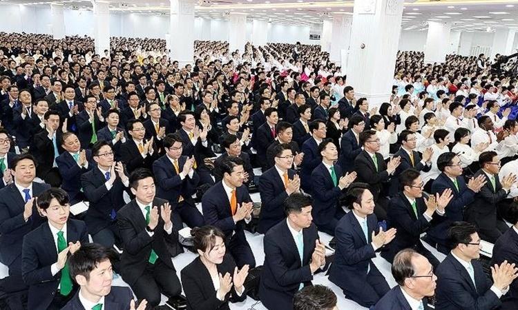 Buổi họp mặt thường niên của các thành viên Tân Thiên Địa tại Gwacheon ngày 12/1. Ảnh: Jonjon TV.