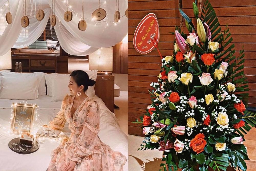 Bảo Thy vừa đón tuổi 32 tại một resort sang trọng ở Côn Đảo. Ông xã của Bảo Thy - doanh nhân Phan Lĩnh chuẩn bị hoa tặng vợ khiến cô hạnh phúc, bất ngờ.