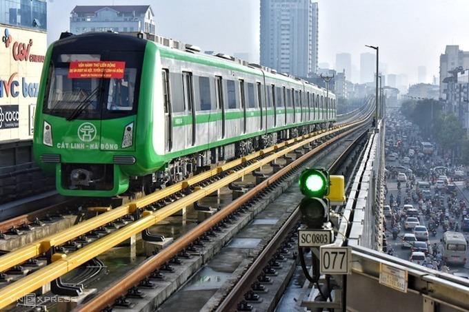 Tuyến đường sắt Cát Linh - Hà Đông phải lùi thời gian chạy thử do ảnh hưởng của Covid-19. Ảnh:Ngọc Thành.