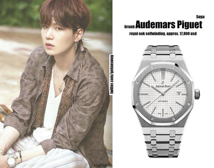 Tương tự J-Hope, Suga của BTS đầu tư hơn 400 triệu đồng để tậu đồng hồ Audemars Piguet Royal Oak.