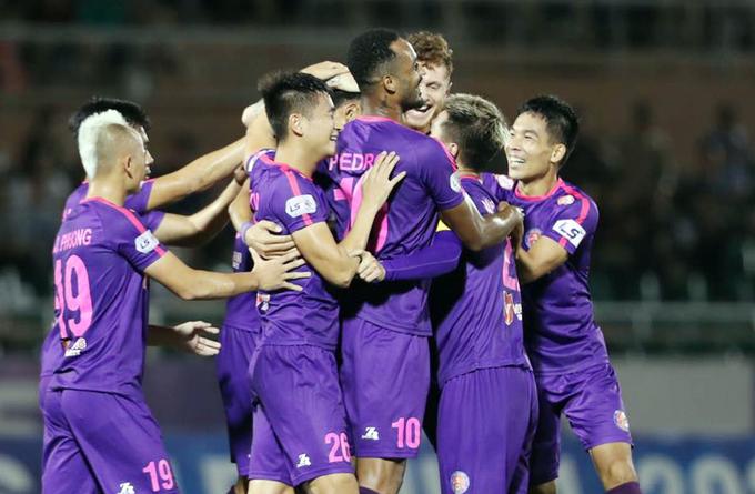 Có bàn thắng sớm giúp Sài Gòn FC dễ dàng tiến tối đánh bại đối thủ. Ảnh: Đức Đồng.