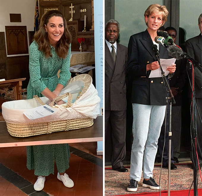 Kate is rarely seen in flats when it comes to royal engagements, however, there are times in every royal's life that call for a pump.  The Duchess proved this during her visit to Baby Basics in Norfolk where she was spotted wearing a pair of white Supergas to help volunteers.Diana wore the very same Superga trainers as Kate but in navy blue while on a visit to Angola for a Red Cross mission in 1997.