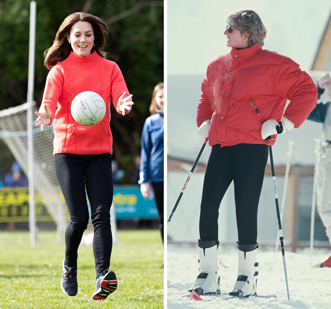 In one iconic snap Diana can be seen wearing a colour block combo of tangerine orange and black as she hits the slope in Austria in 1993.  Kate opted for the very same colour palette 27 years later as she took part in a football game in Dublin.