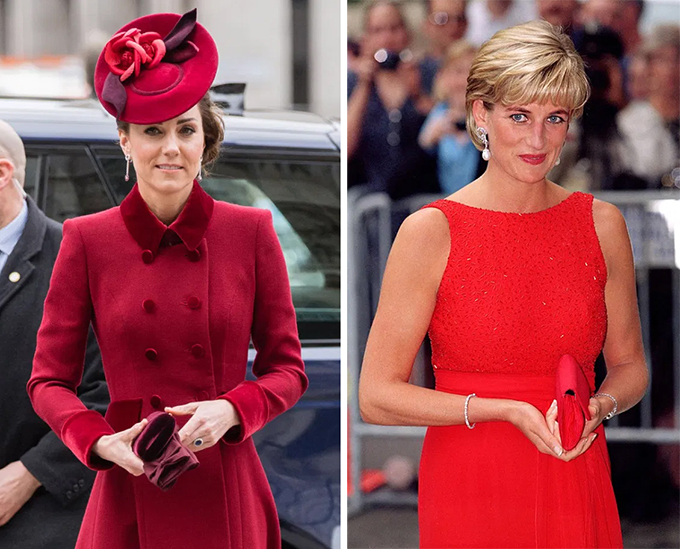 Earlier this year, during her visit to Dublin, Kate meticulously sought out an emerald green clutch that would perfectly match her Alessandra Rich dress.  And later that month her cherry red bag was an identical shade to the dress coat she wore to the Commonwealth Day Service.