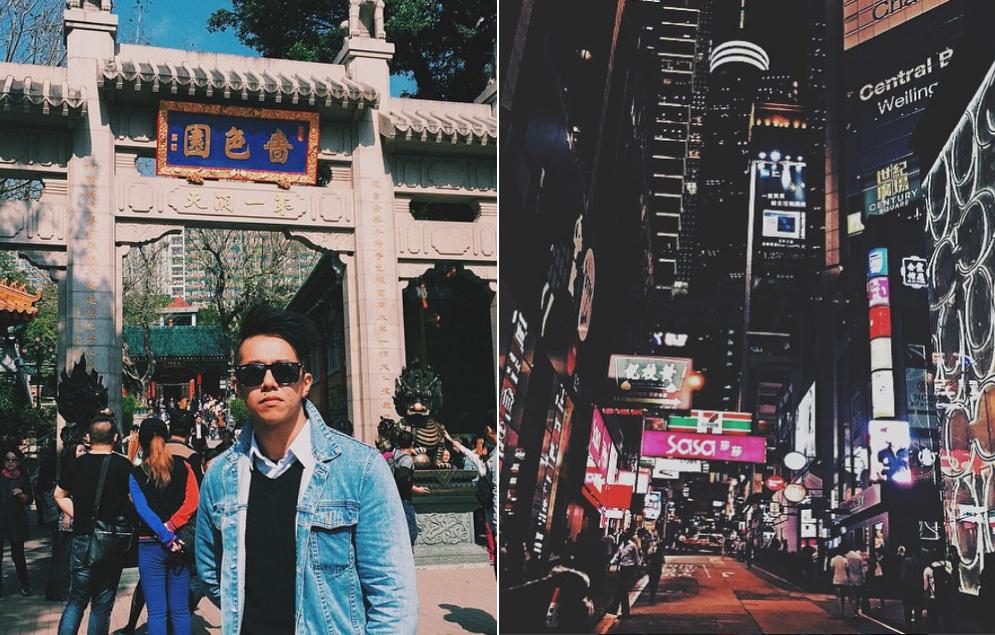 Chàng trai gốc Hoa cũng thường xuyên sang Hong Kong thăm người thân, thăm viếng các ngồi chùa nổi tiếng và không quên chill ở khu tổ hợp ăn chơi Lan Quế Phường nổi tiếng xứ Cảng thơm.