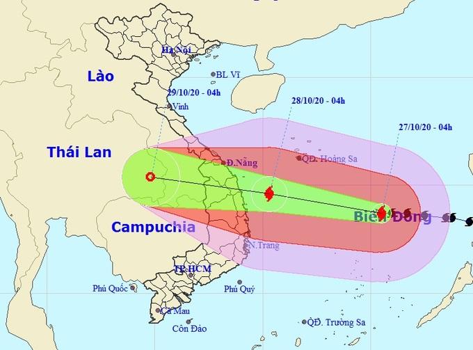Đường đi của bão Molave theo bản tin dự báo lúc 5h ngày 27/10 của NCHMF. Ảnh: NCHMF.