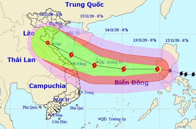Dự kiến hướng đi và vùng ảnh hưởng của bão Vamco của Trung tâm Dự báo Khí tượng Thủy văn Quốc gia. Ảnh:NCHMF