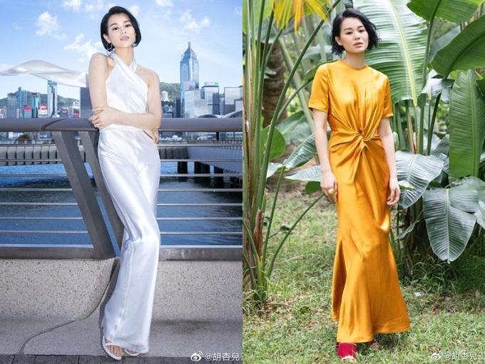 Fan khen Hạnh Nhi nữ tính, cuốn hút khi diện đầm dài chất liệu lụa, vải lanh... Người đẹp Hong Kong trung thành với mái tóc ngắn và lối trang điểm trong suốt.