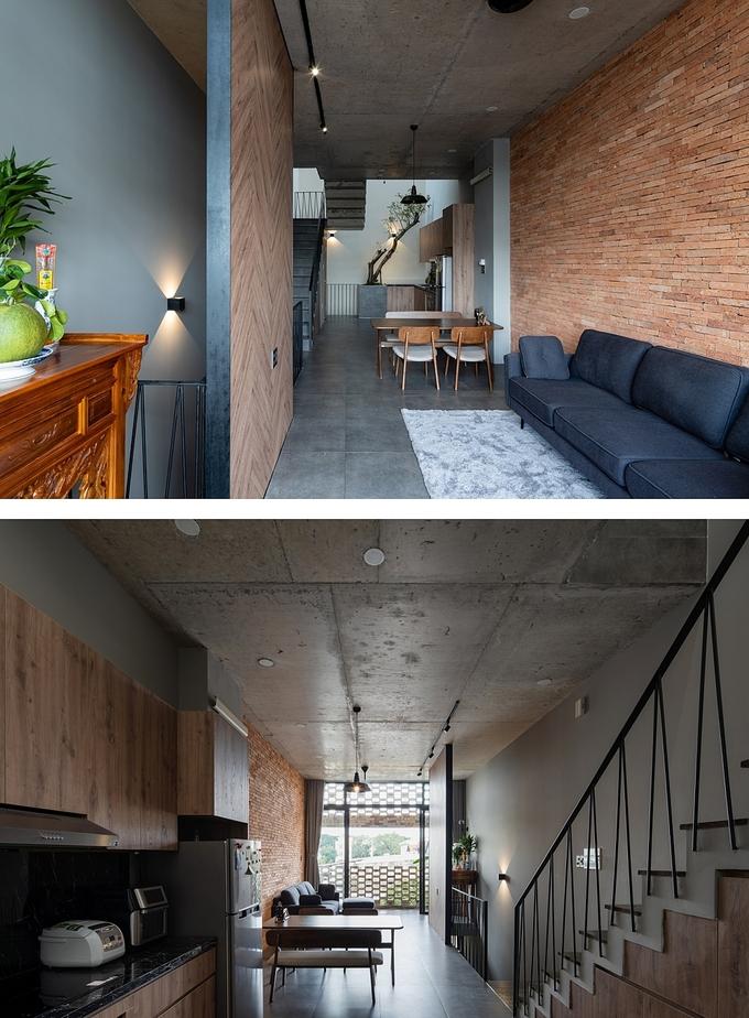 Không gian bên trong nhà được thiết kế đơn giản với chất liệu chính là gạch mộc, bê tông trần, gỗ. Ảnh: Quang Trần.
