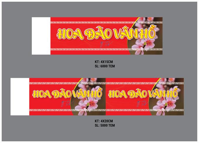 Mẫu tem huyện Vân Hồ, tỉnh Sơn La đề xuất dán cho hoa đào xuất xứ từ địa phương. Ảnh: TTVH