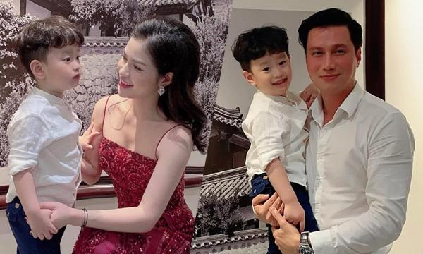 Việt Anh và vợ cũ trong sinh nhật con.